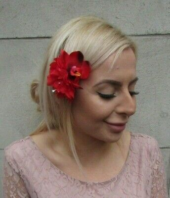 Double Red Orchid & Peony Flower Hair Clip Fascinator Floral Rose Tropical 0156