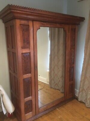 Antique Victorian Pitch Pine Wardrobe