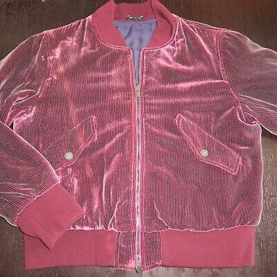 GIORGIO ARMANI Black Label Reversible Burgundy Velvet Cropped Jacket Sz 50 = M