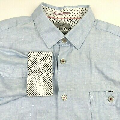Ted Baker London Mens Size 6 Large Shirt Blue Button Flip Cuffs Dress Polka dot