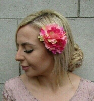 Double Hot Pink Fuchsia Ombre Peony Flower Hair Clip Floral Fascinator Rose 0164