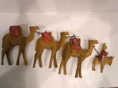 Vintage/Antique Hand Carved Camels 3 Large and a Small Donkey With a Rider Xmas