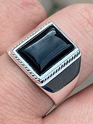 Mens Real Solid 925 Sterling Silver Black Onyx Signet Ring Size 7 8 9 10 11 12