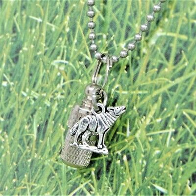 Wolf Cremation Jewelry || Urn Necklace for Wolf Lover || Unisex Ashes Keepsake