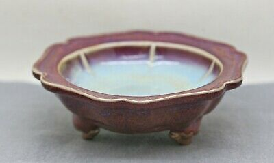 Charming Vintage Peach Bloom Flambe Red/Purple Ceramic Footed Plate c1950s