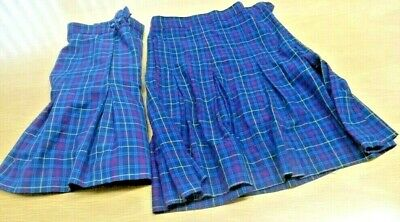 School Uniform Skirt Girls Pleated Plaid Size 12 Wool Blend x2
