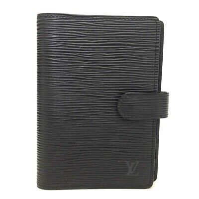 Authentic Louis Vuitton Epi Agenda PM Black Leather Notebook Cover /ee171