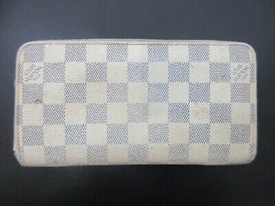 Authentic Louis Vuitton Damier Azur Zippy Wallet N60019 Long Wallet 83934