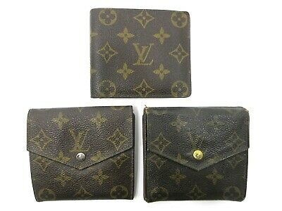 Authentic 3 Item Set LOUIS VUITTON Monogram Wallet PVC Leather 83902