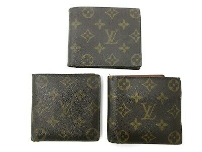 Authentic 3 Item Set LOUIS VUITTON Monogram Wallet PVC Leather 83894