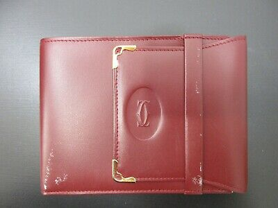 Authentic Cartier Must Line Trifold Billfold Bordeaux Leather Good Box 82044 B