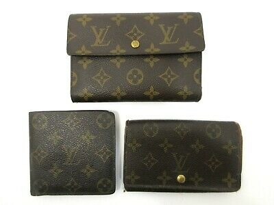 Authentic 3 Item Set LOUIS VUITTON Monogram Wallet PVC Leather 82827