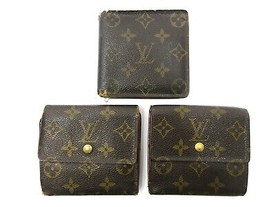 Authentic 3 Item Set LOUIS VUITTON Monogram Wallet PVC Leather 82707