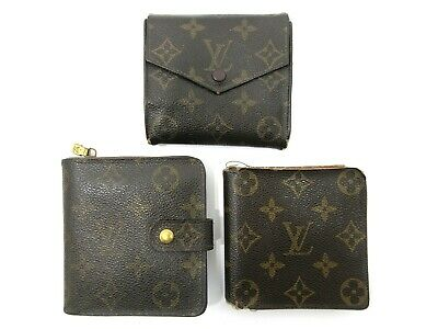 Authentic 3 Item Set LOUIS VUITTON Monogram Wallet PVC Leather 82705