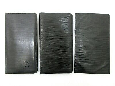 Authentic 3 Item Set LOUIS VUITTON Epi Long Billfold Leather Black 82840