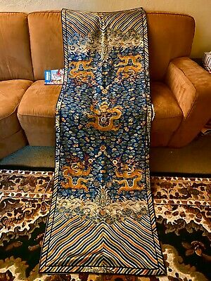 ANTIQUE CHINESE Silk Dragon EMBROIDERED PANEL IMPERIAL COURT ROBE QING DYNASTY