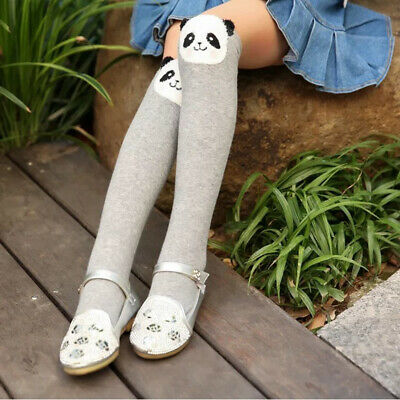 1 Pair Cute Cotton Knee High Socks Anti-Slip Long Leg Warmer Kids Stockings US