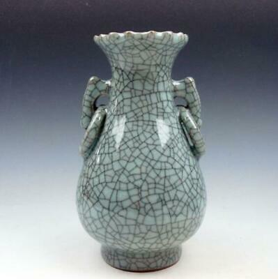 Chinese Crackle Celadon Hand Crafted Unique Shaped Vase /Tb01