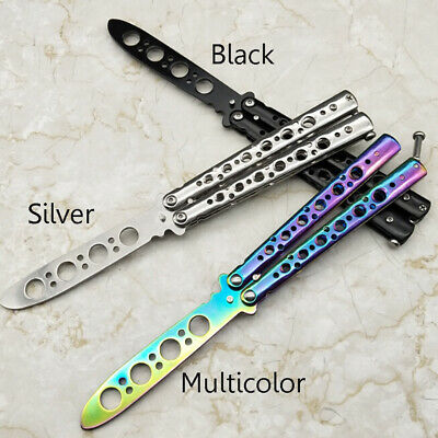 Sheath Metal Dull Blade Practice Tool Training Knife Trainer Butterfly Knife HOT