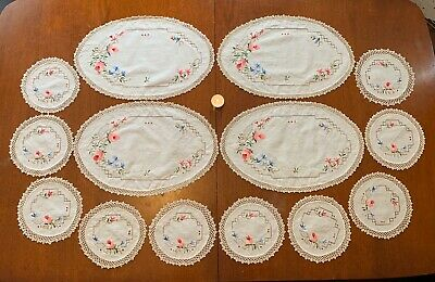 Set Of 14 Vintage Table Linen Napery Doyley Doilies Large Round Embroidered Rose
