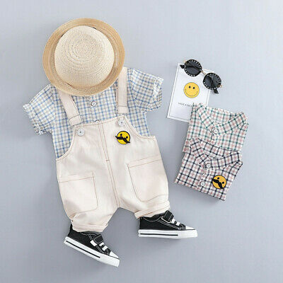 Toddler Baby Kids Boys T shirt Tops Plaid Pocket Solid Overall Outfits Clothes