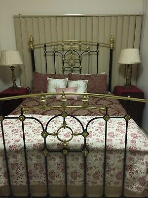 Antique Cast Iron, Porcelain & Brass Bed, Queen Size With Heavy Duty Slat Base