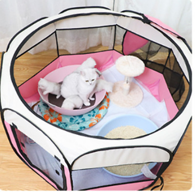 Pet Cat Dog  Kennel Fence Puppy Playpen Exercise Pen Folding Crate Pink