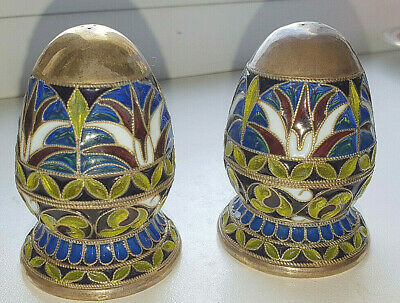 Yevgeny Butenko Stained glass enamel, silver set for spices by imitating Faberge