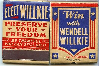 1940 Wendell Willkie Campaign Political Matchbook Lot - RY687