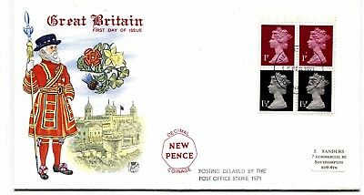 GB First Day Cover DECIMAL STAMPS Posting Delayed Postal Strike FDC 1971 L245