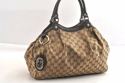Authentic GUCCI Sukey Hand Bag GG Canvas Leather Brown 93868
