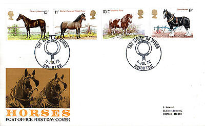 5 July 1978 Shire Horses Post Office First Day Cover Sport Of Kings Brighton Shs