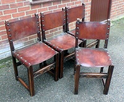 Set 4 Edwardian antique Arts & Crafts solid carved oak leather dining chairs