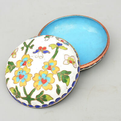 Collect China Old Cloisonne Hand-Carved Bloomy Flower Moral Bring Luck Jewel Box