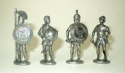 Four Greek Warrior Figures in Fine Pewter