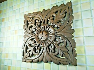 Thai Vintage Carved Wood Wall Decor Square Panel Flower Wall Art Brown 8""