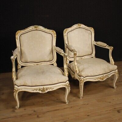 Pair of Armchairs Furniture Chairs Wooden Lacquered & Golden Antique Style 900