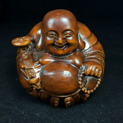 Collectable China Old Boxwood Hand-Carved Happy Buddha Being Luck Decor Statue