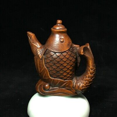 Collectable China Old Boxwood Hand-Carved Fish Delicate Unique Tea Pot Statue