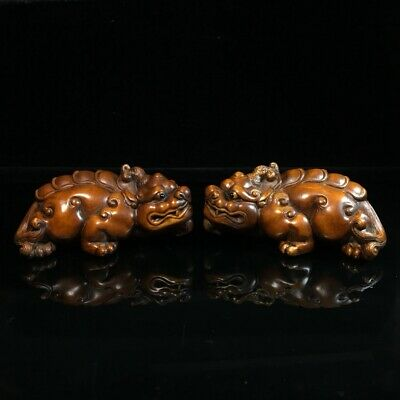 Collectable China Old Boxwood Hand-Carved Myth Kylin Auspicious A Pair Statue