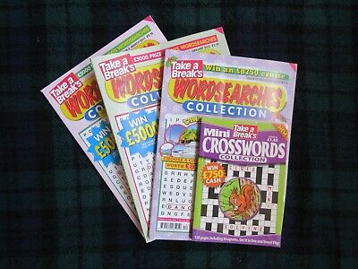 """""""Take A Break's"""" Word Searches/Crossword Collection - 4 Books - 2014/15 - Box 50"""