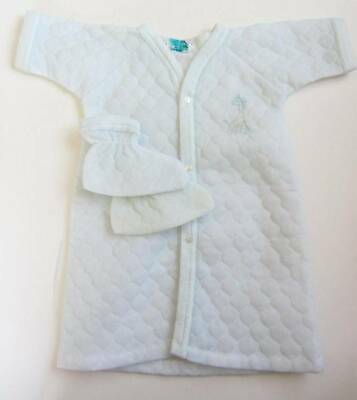blue white vintage baby large doll quilted dressing gown slippers giraffe