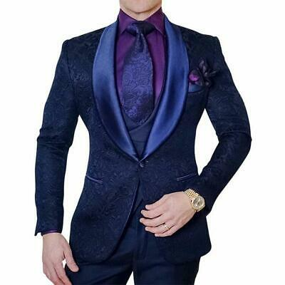 Man Navy Blue 3 Piece Paisley Suit Tuxedos Groom Prom Suit British Style 40R(M)