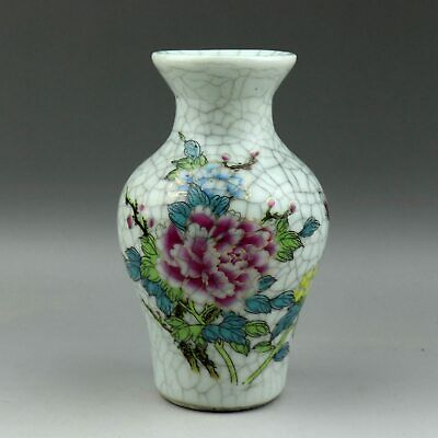 Collectable China Old Rose Porcelain Hand Paint Bloomy Peony Flower Noble Vase