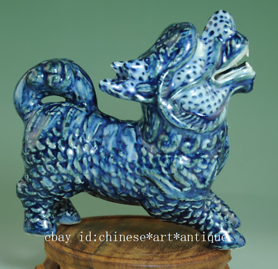 Collection china antique blue and white porcelain Handwork Kylin statue Cb02B