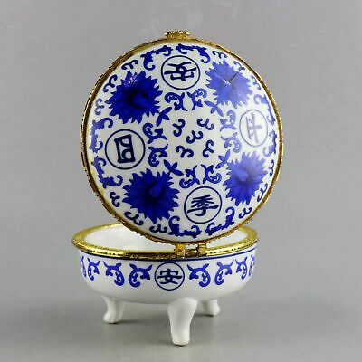 Collect Blue & White Porcelain Paint Bloomy Flower Noble Girl Mirror Jewel Box