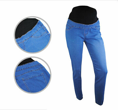 Womens Ex New Look Maternity Over Bump Jeggings Skinny Jeans Blue Size 10 Ladies