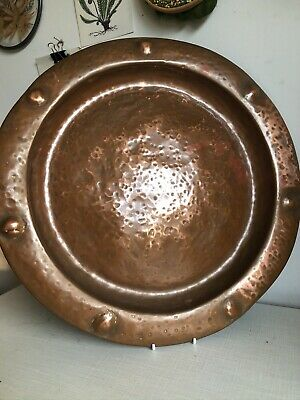 Arts & Crafts Vintage Copper Tray charger Hand hammered Wall Hanging Plant Stand