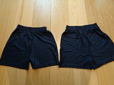 2 pairs boys lightweight striped navy blue school football sport shorts 9 years