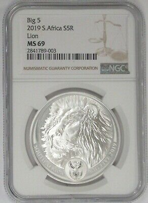 2019 South Africa Big 5 Series Lion 1 oz .999 Silver Proof Capsuled Coin W//OMP